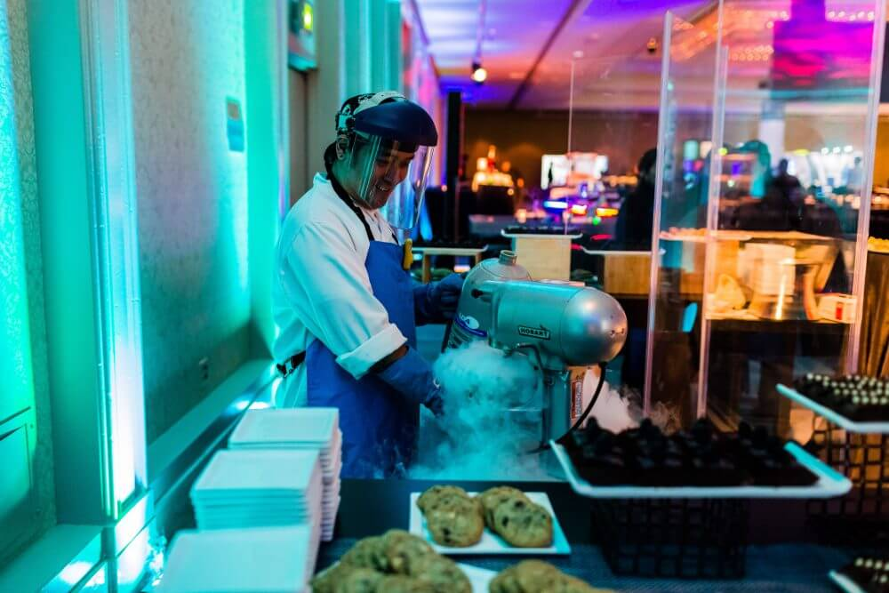 Making ice cream with nitrogen.