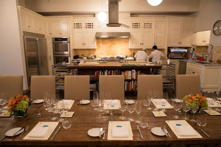 dinner table in chef's home kitchen