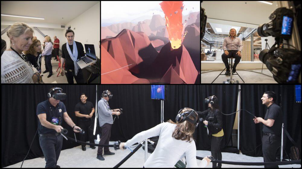 Attendees  experience the immersive affects of virtual and augmented realities.