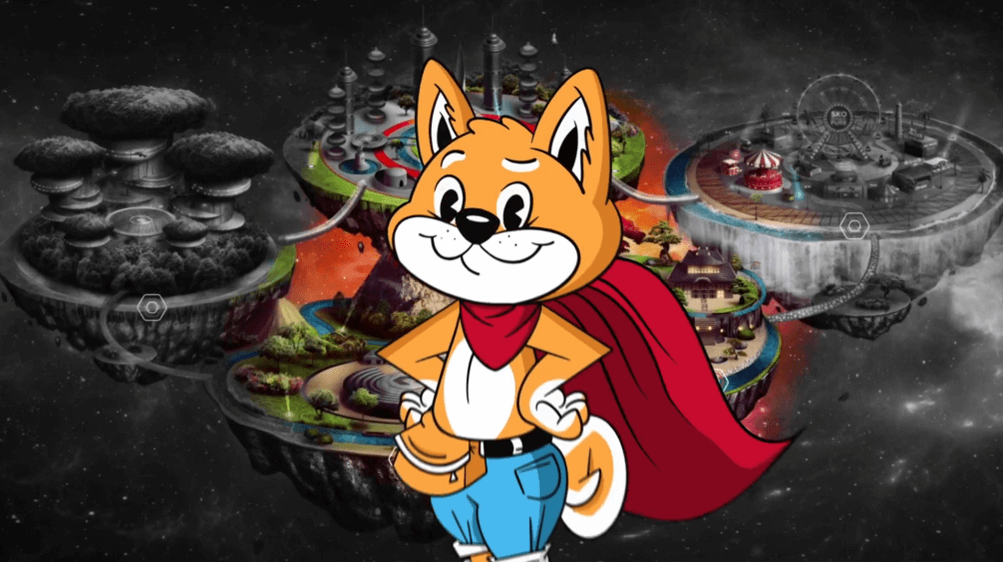 Commercial depicting Hex the shiba inu mascot in front of the Islands of Innovation map