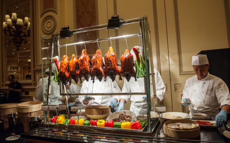 Food station showcases local cuisine in Macao.